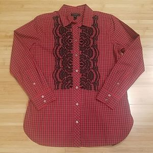 J.Crew Red Plaid Shirt with Black Embroidery